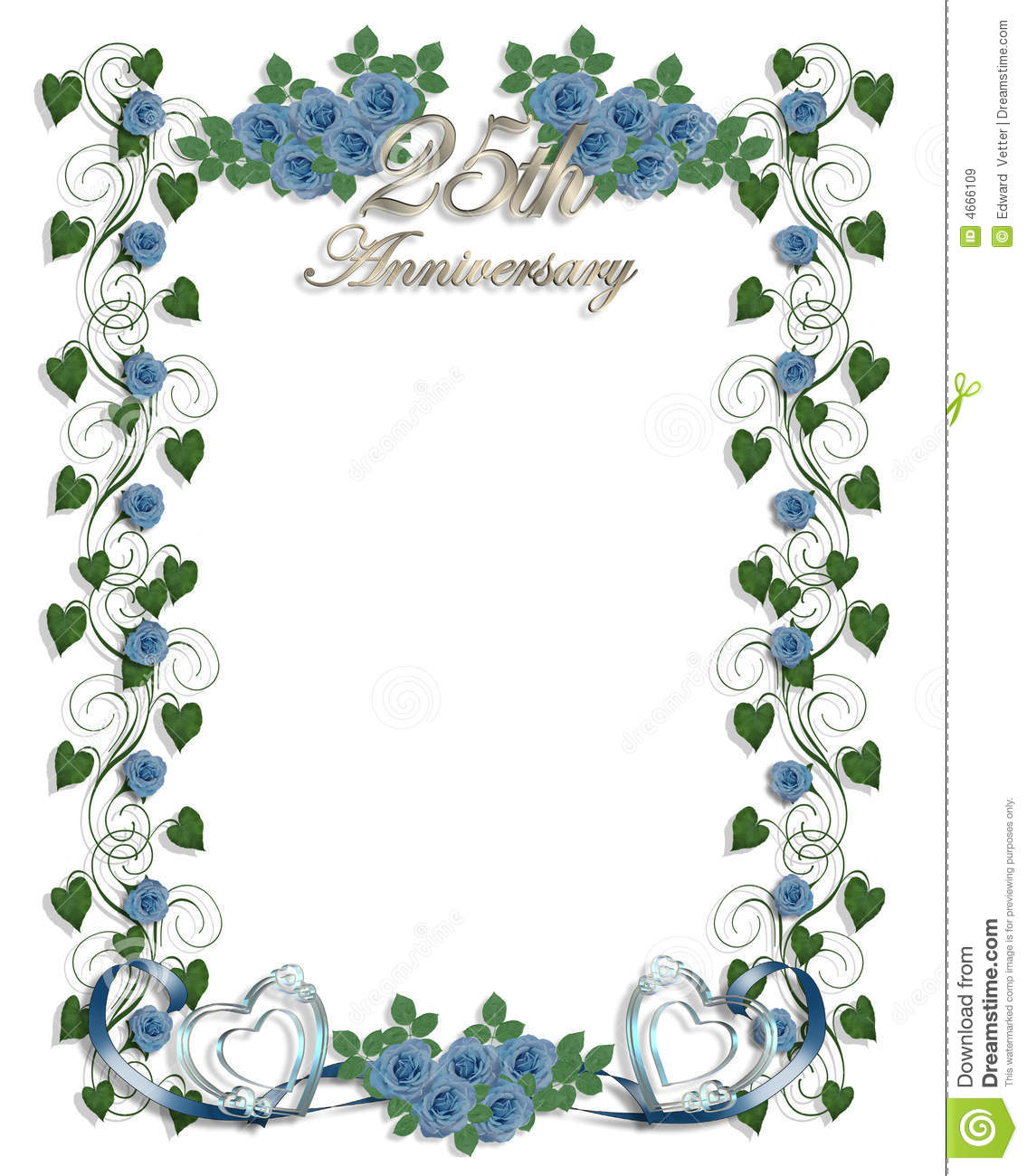 Blue Roses 25th Wedding Anniversary Stock Illustration