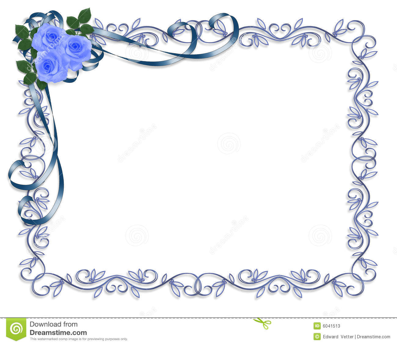 Wedding Invite Borders: Blue Roses Wedding Invitation Border Stock Illustration