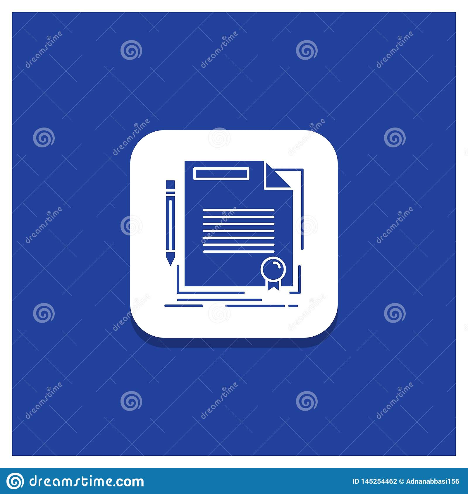 Blue Round Button for agreement, contract, deal, document, paper Glyph icon