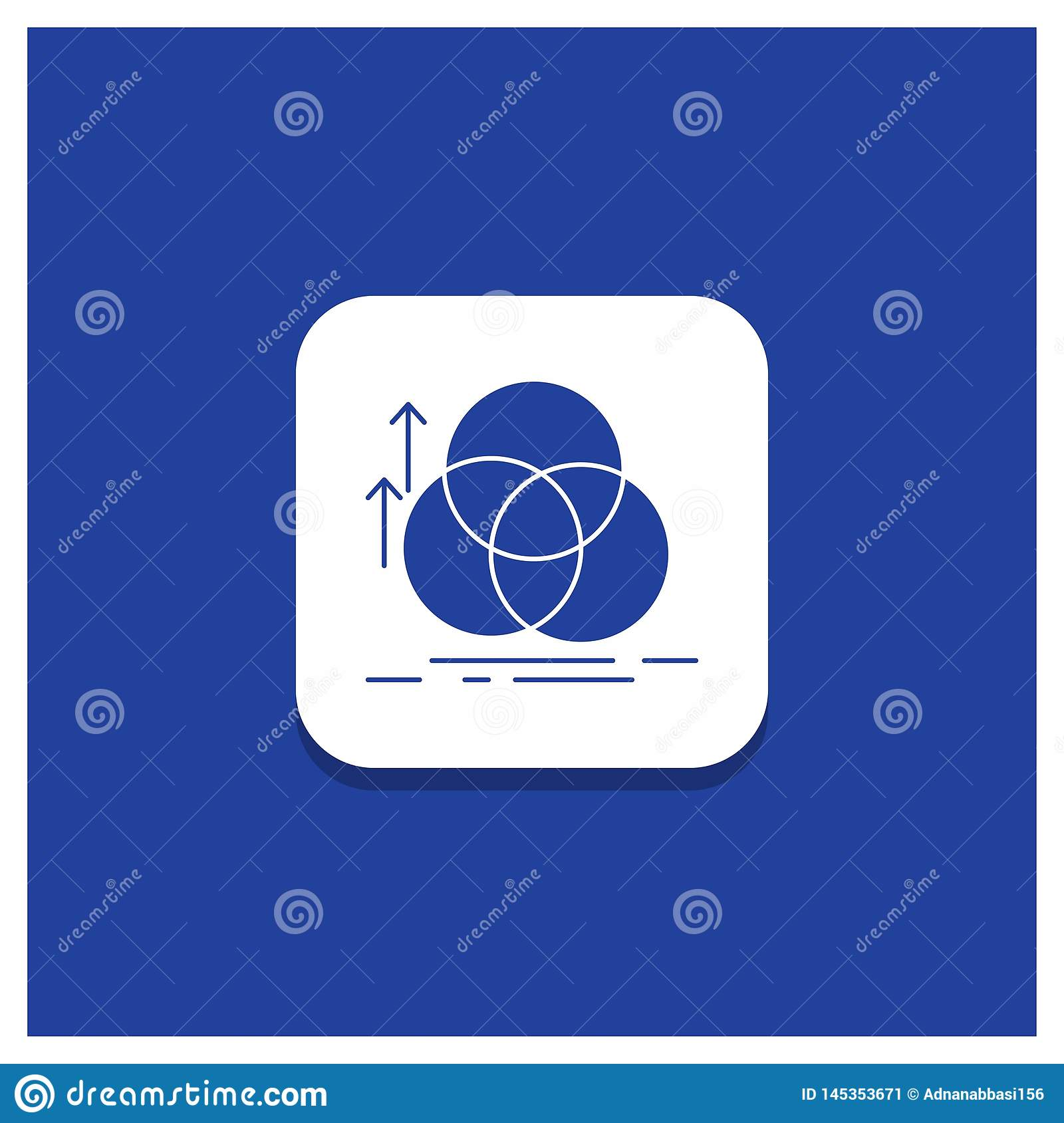 Blue Round Button for balance, circle, alignment, measurement, geometry Glyph icon