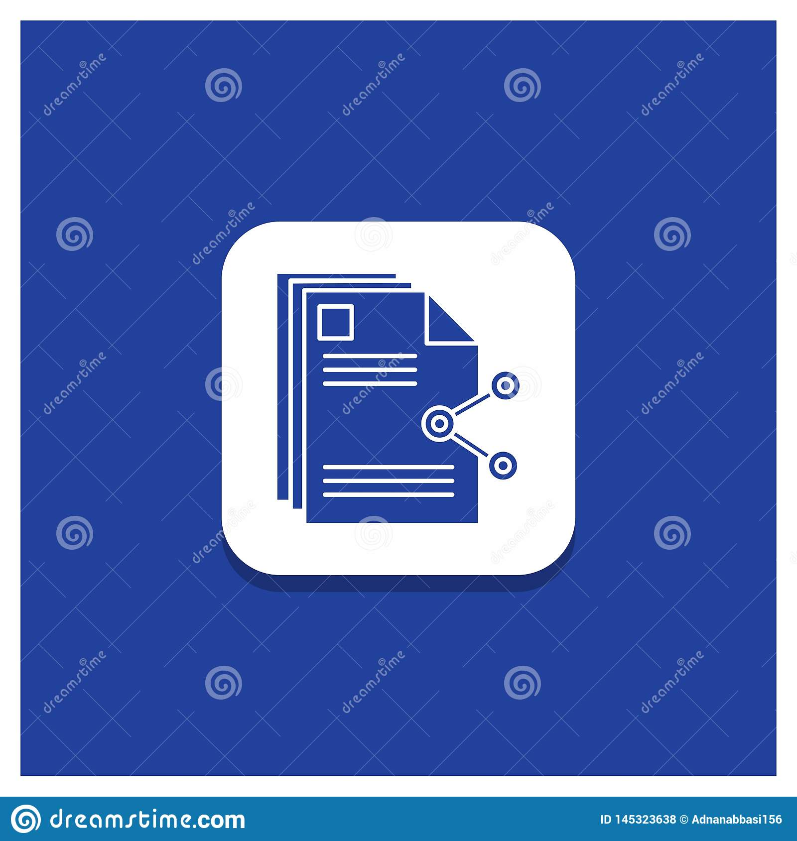 Blue Round Button for content, files, sharing, share, document Glyph icon