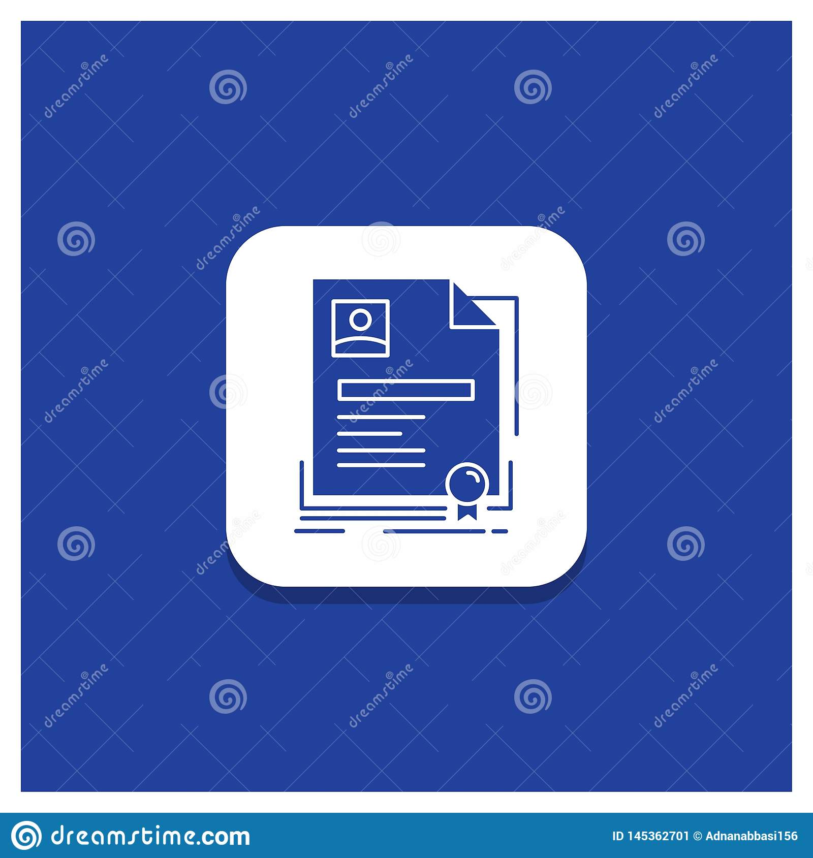 Blue Round Button for Contract, badge, Business, agreement, certificate Glyph icon
