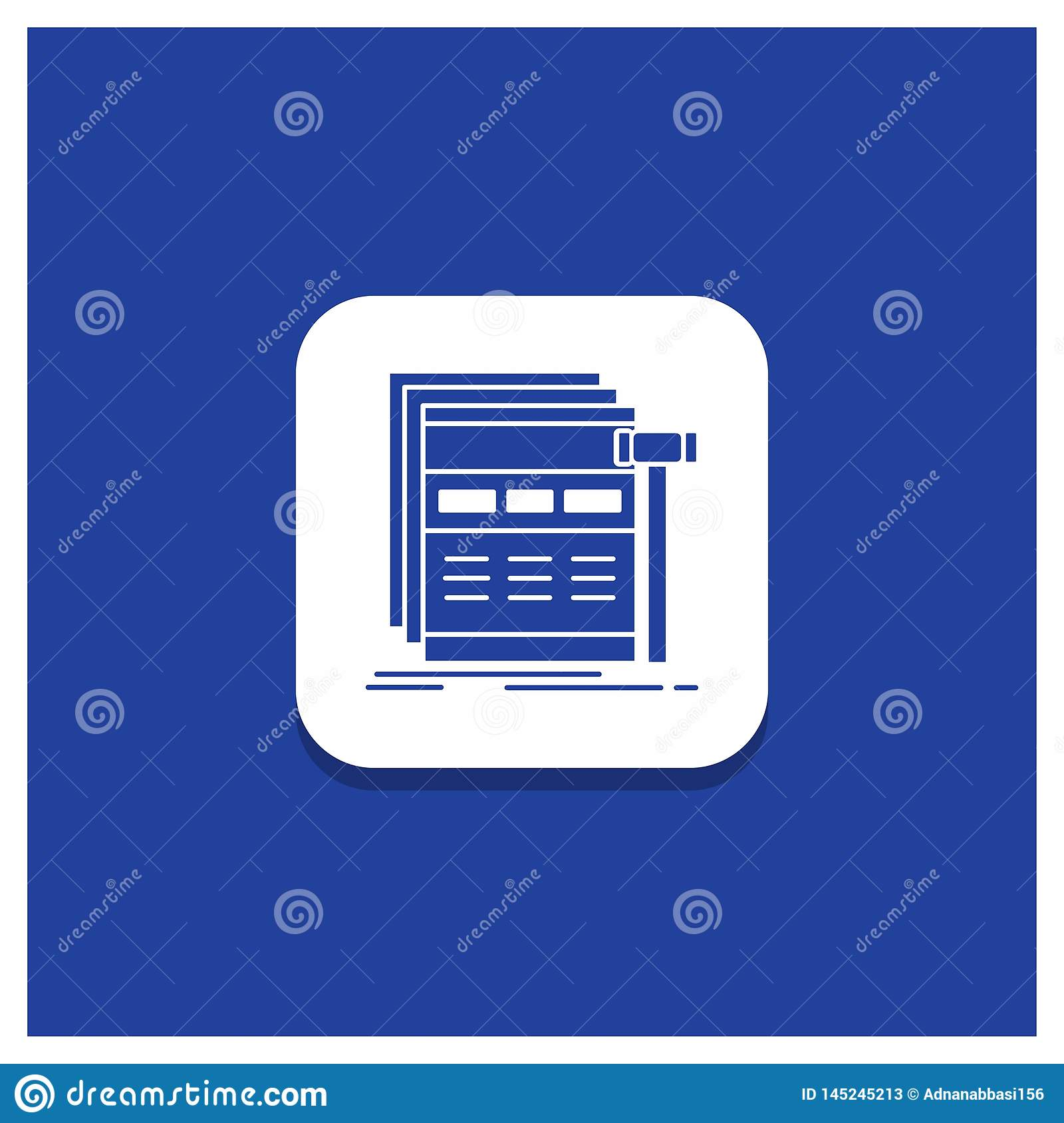 Blue Round Button for Internet, page, web, webpage, wireframe Glyph icon