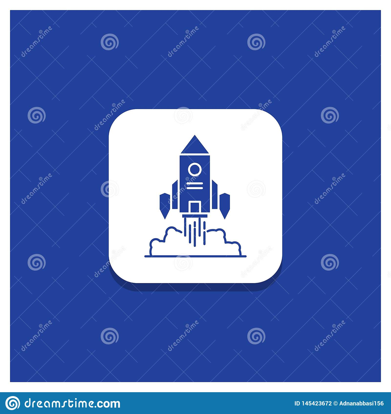 Blue Round Button for Rocket, spaceship, startup, launch, Game Glyph icon