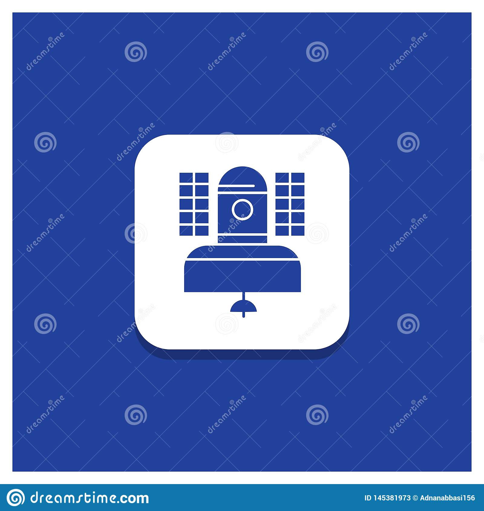 Blue Round Button for Satellite, broadcast, broadcasting, communication, telecommunication Glyph icon