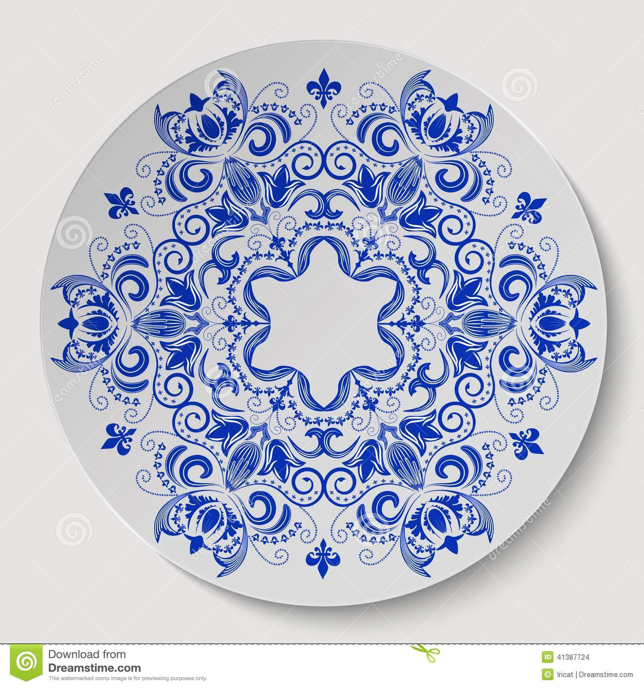 blue round floral ornament  pattern applied to the ceramic