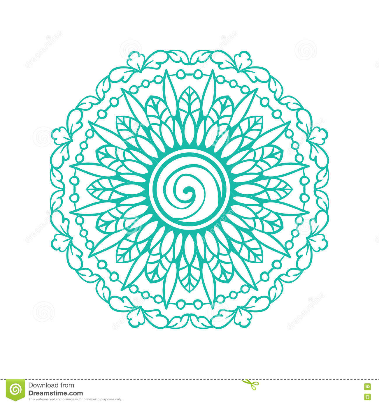 Blue Round Ornamental Mandala Simple Pattern For Tshirt Print