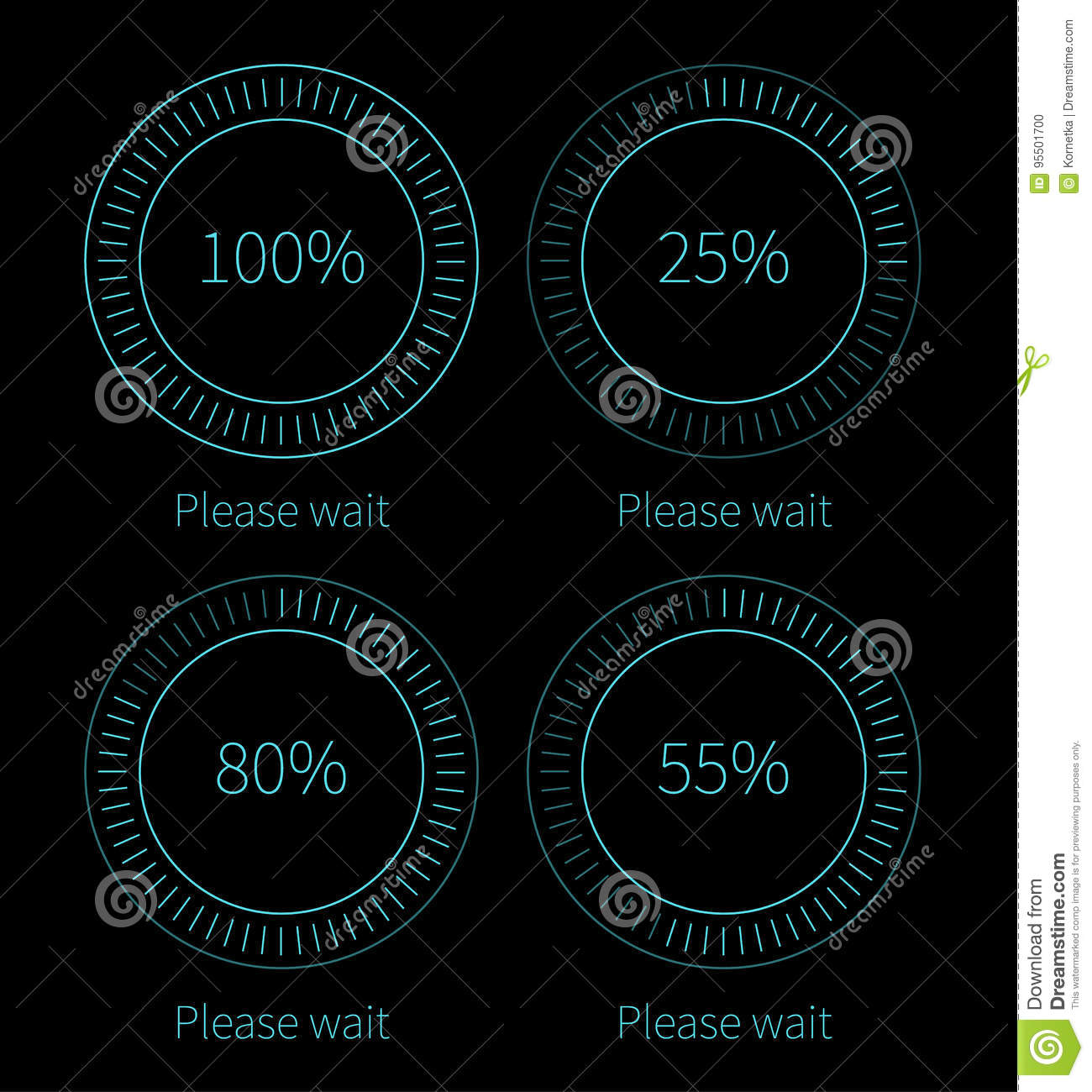 Blue Round Progress Bars Vector Abstract Symbol For Webpage Design