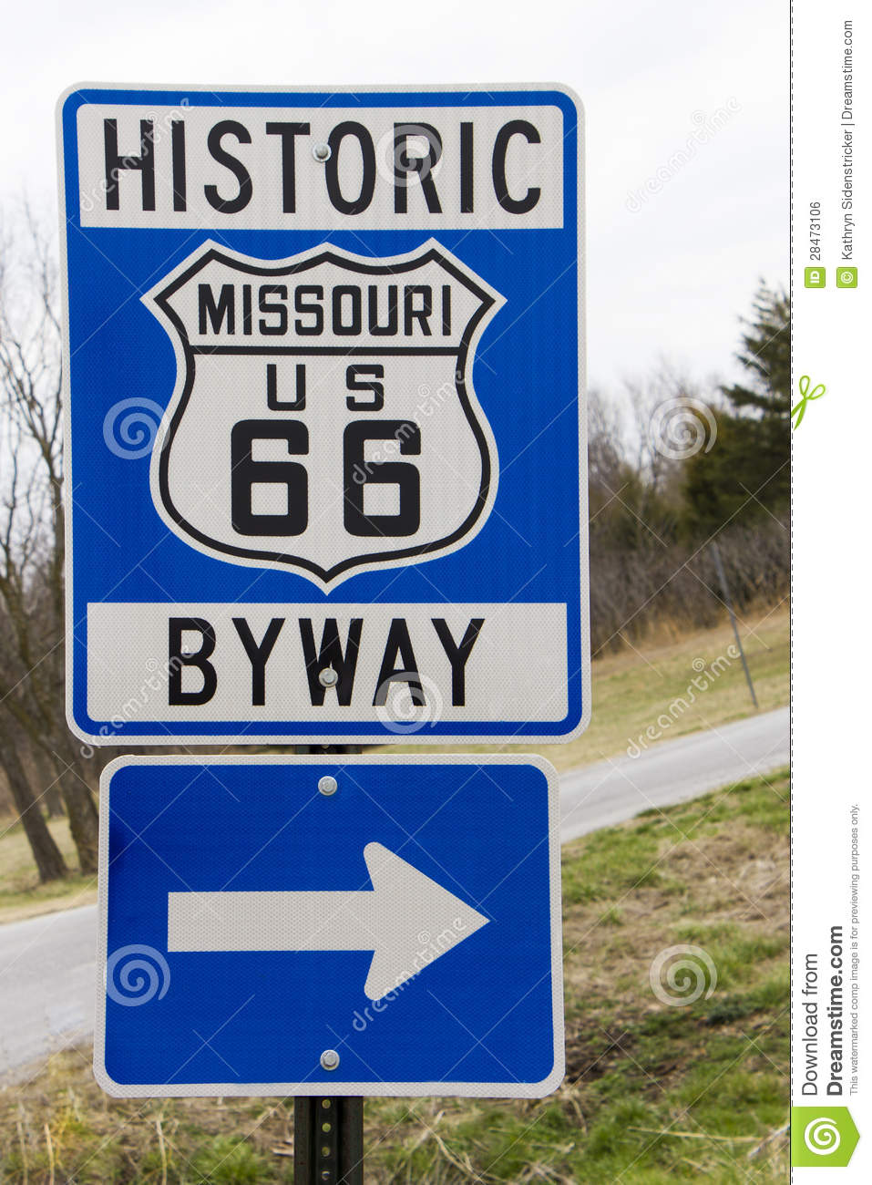 Blue Route 66 Historic Byway Sign
