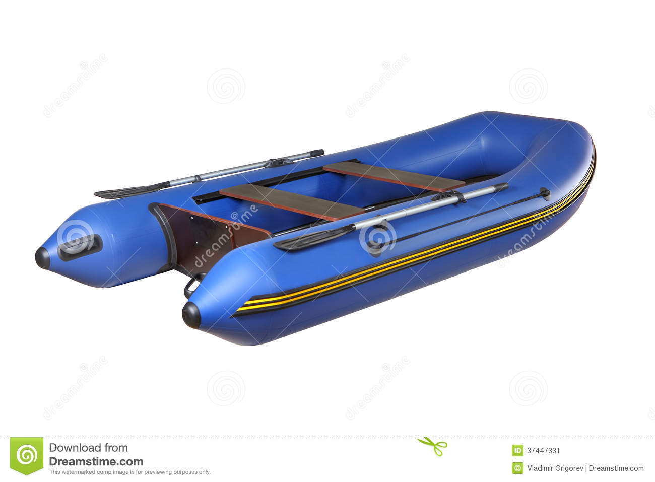 Blue Rubber Inflatable Boat PVC With Oars, Isolated On White. Stock Image - Image: 37447331