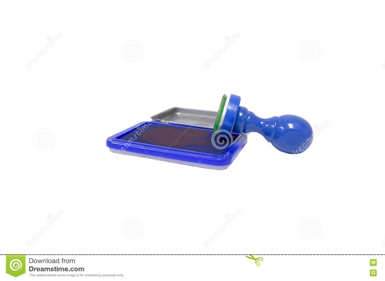 Blue rubber stamps, office equipment, equipment for businesses.