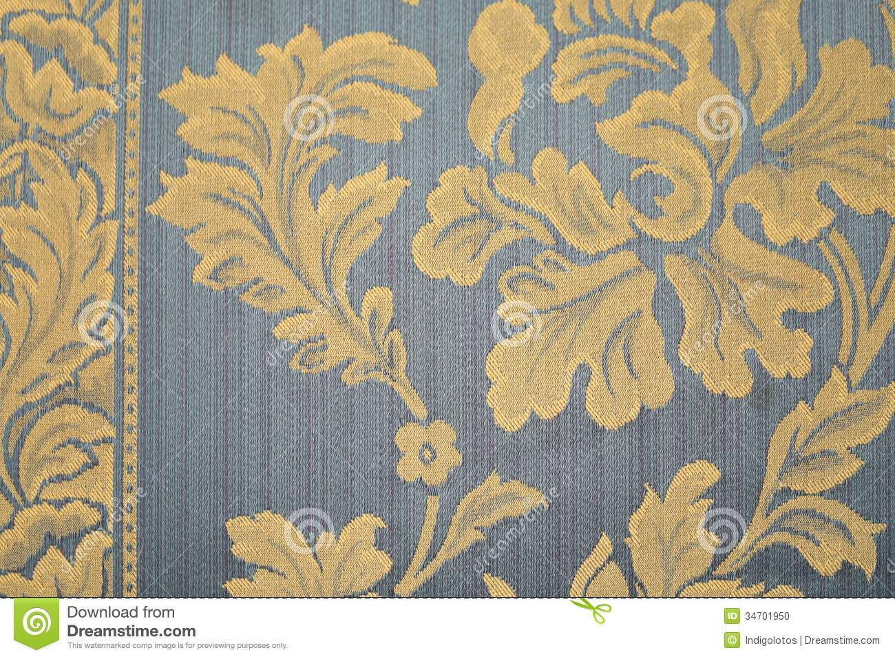Blue Rug With Yellow Flowers Stock Photo Image 34701950