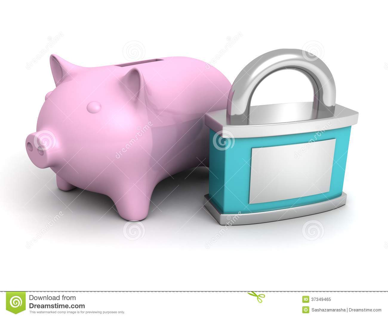 Blue safety padlock and pink piggy money bank