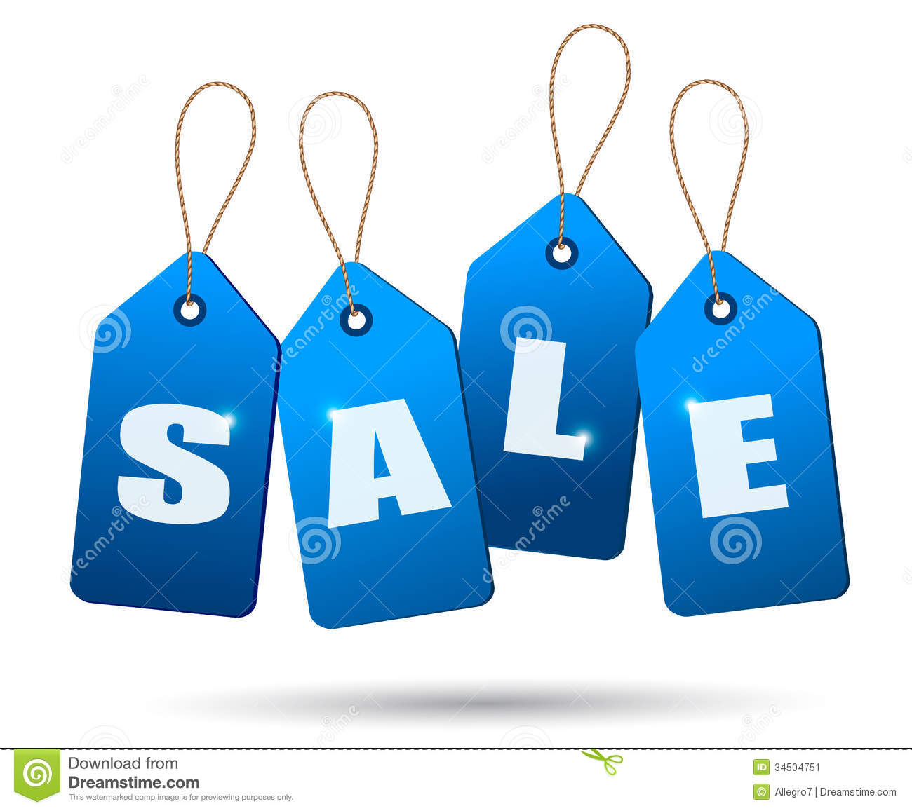 Sale: Blue Sale Tags. Concept Of Discount Shopping. Stock Image