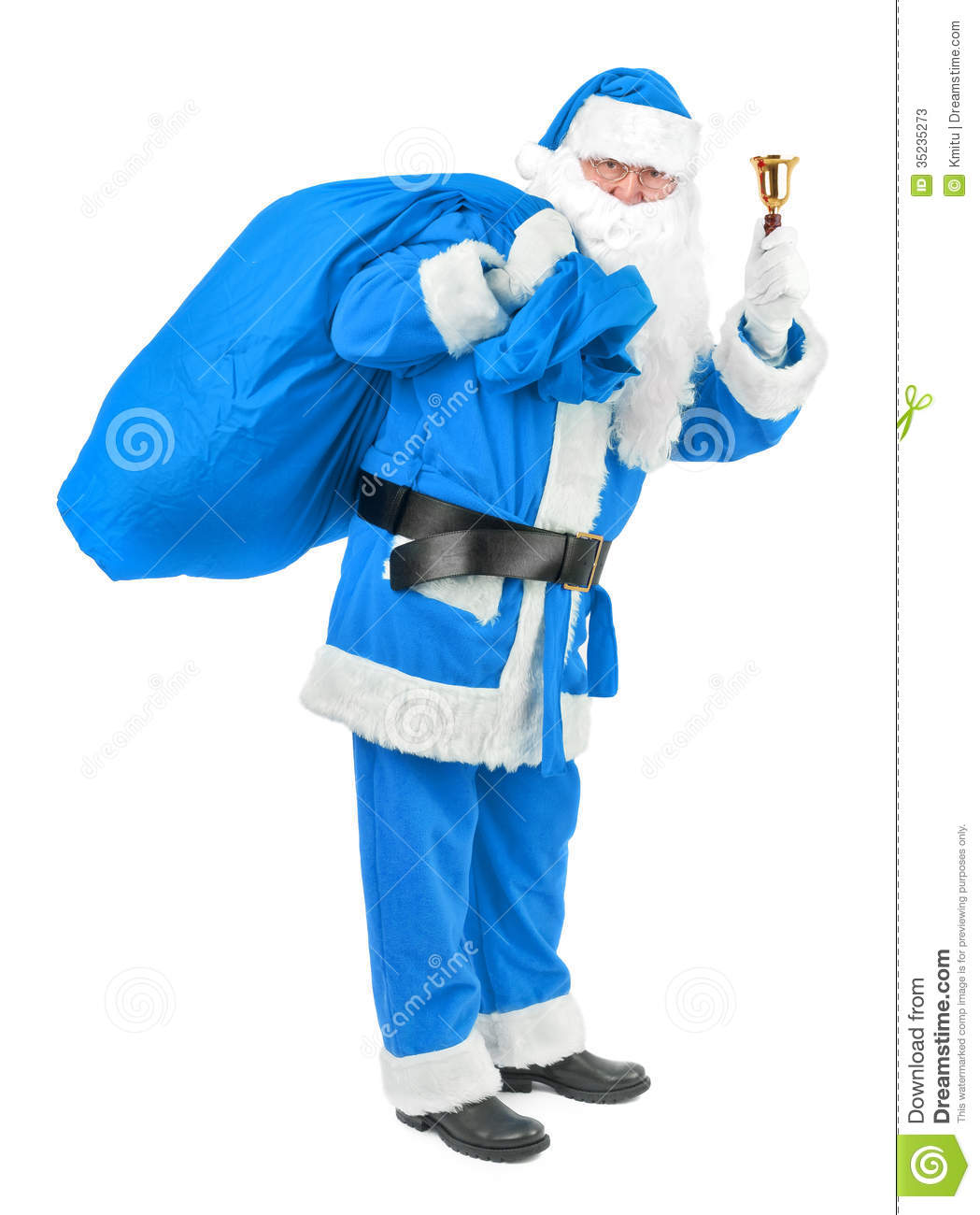 blue santa claus with bell on white stock photos image. Black Bedroom Furniture Sets. Home Design Ideas