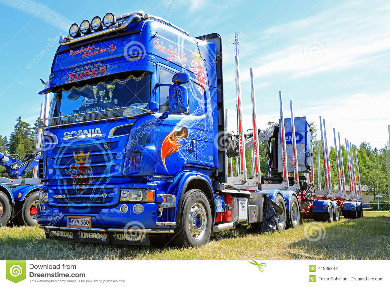 Très bien Extreme Blue Scania R620 V8 Timber Truck Editorial Photography - Image of  HY52
