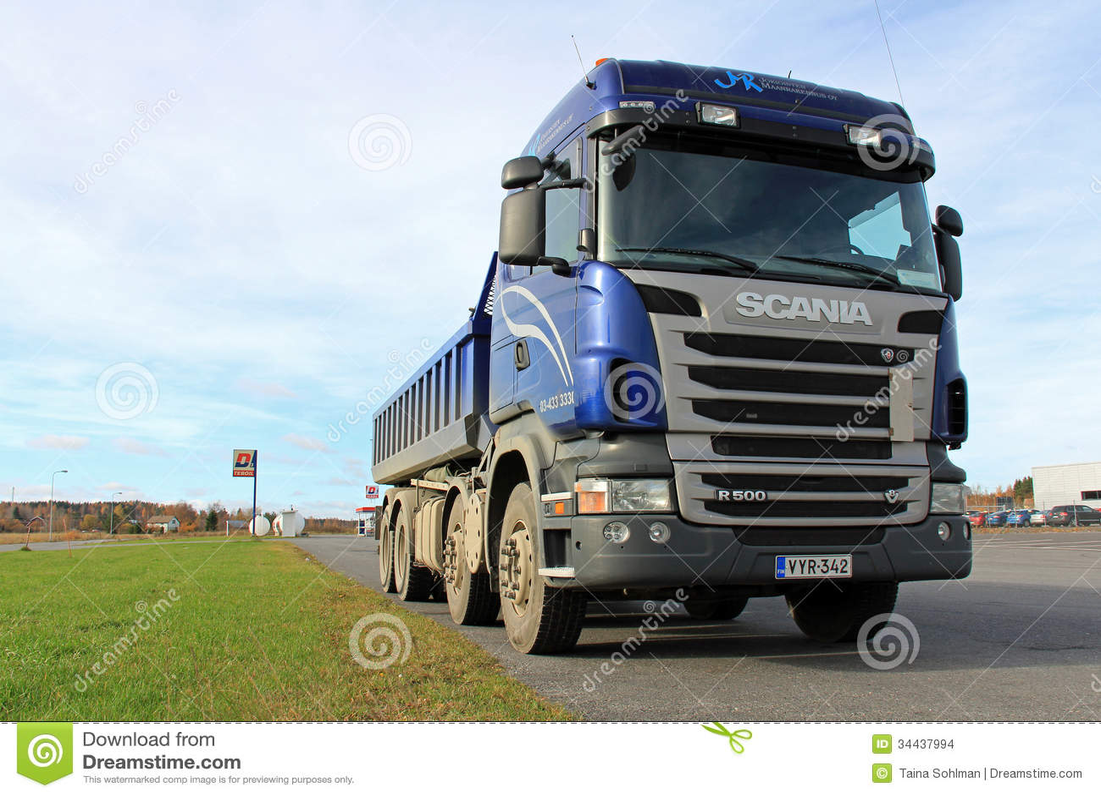 blue scania tipper truck on a parking lot editorial stock White Semi Truck White Semi Truck