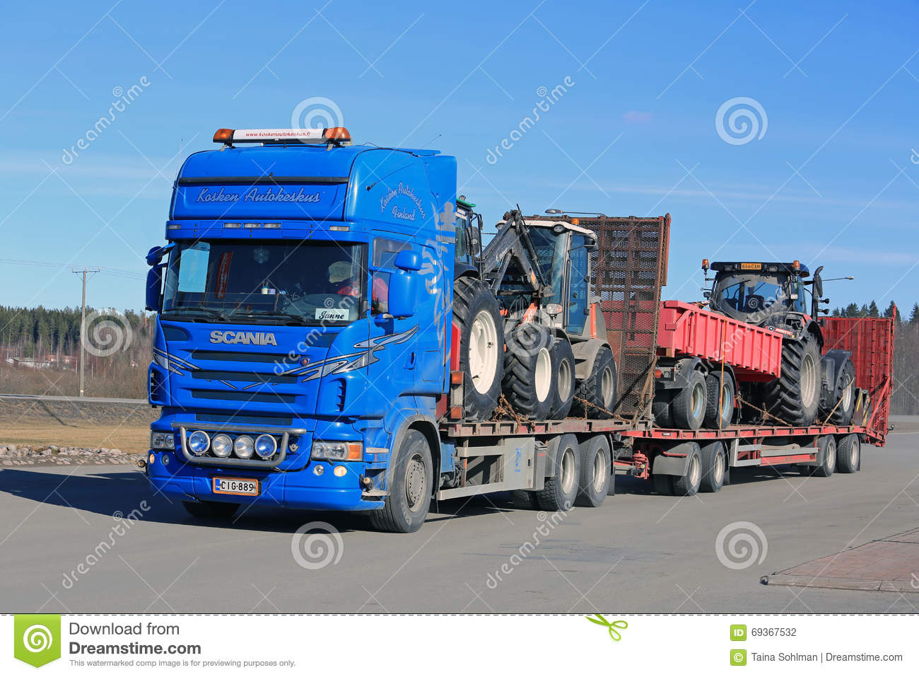 Tractor Trailer Truck Accessories : Blue scania truck hauls agricultural equipment editorial