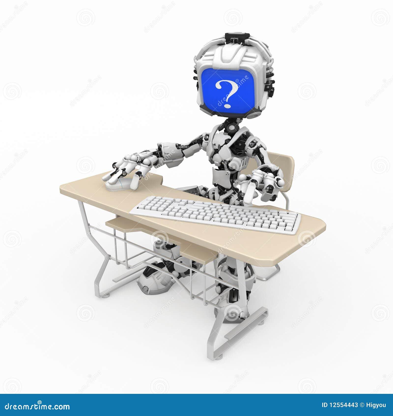 Blue Screen Robot, Computer Desk Stock Photos - Image: 12554443