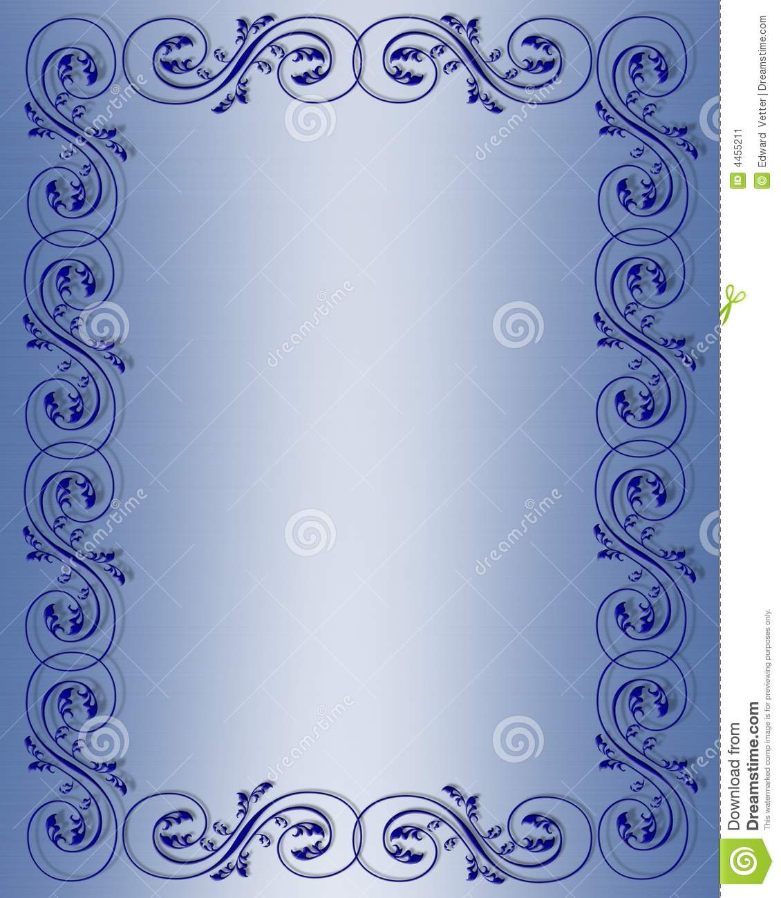 Blue Scroll Border Design stock illustration. Illustration of ...