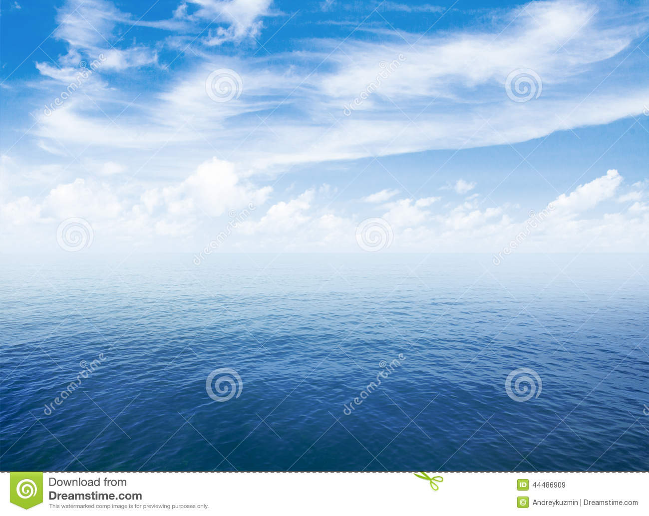 Blue sea or ocean water surface with horizon and sky