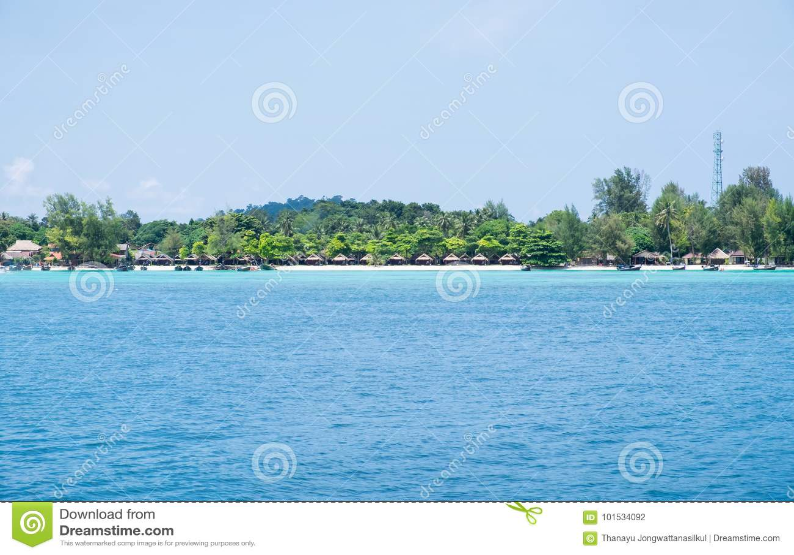 Blue sea with resort,most abundant coral reef at lipe island
