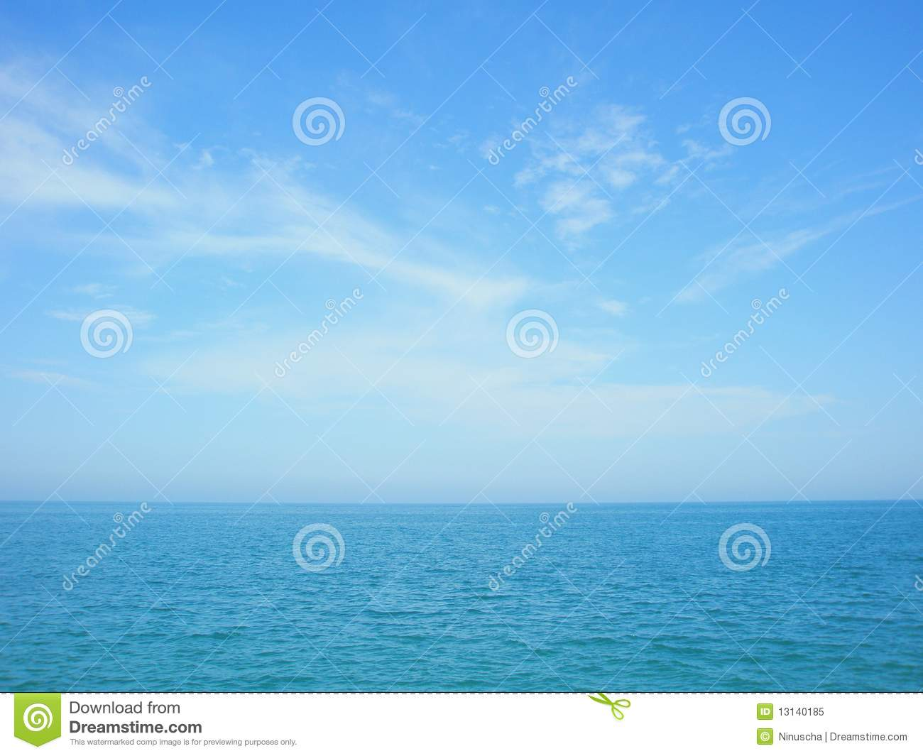 Blue Sea And Sky Horizon With Clouds Royalty Free Stock ...