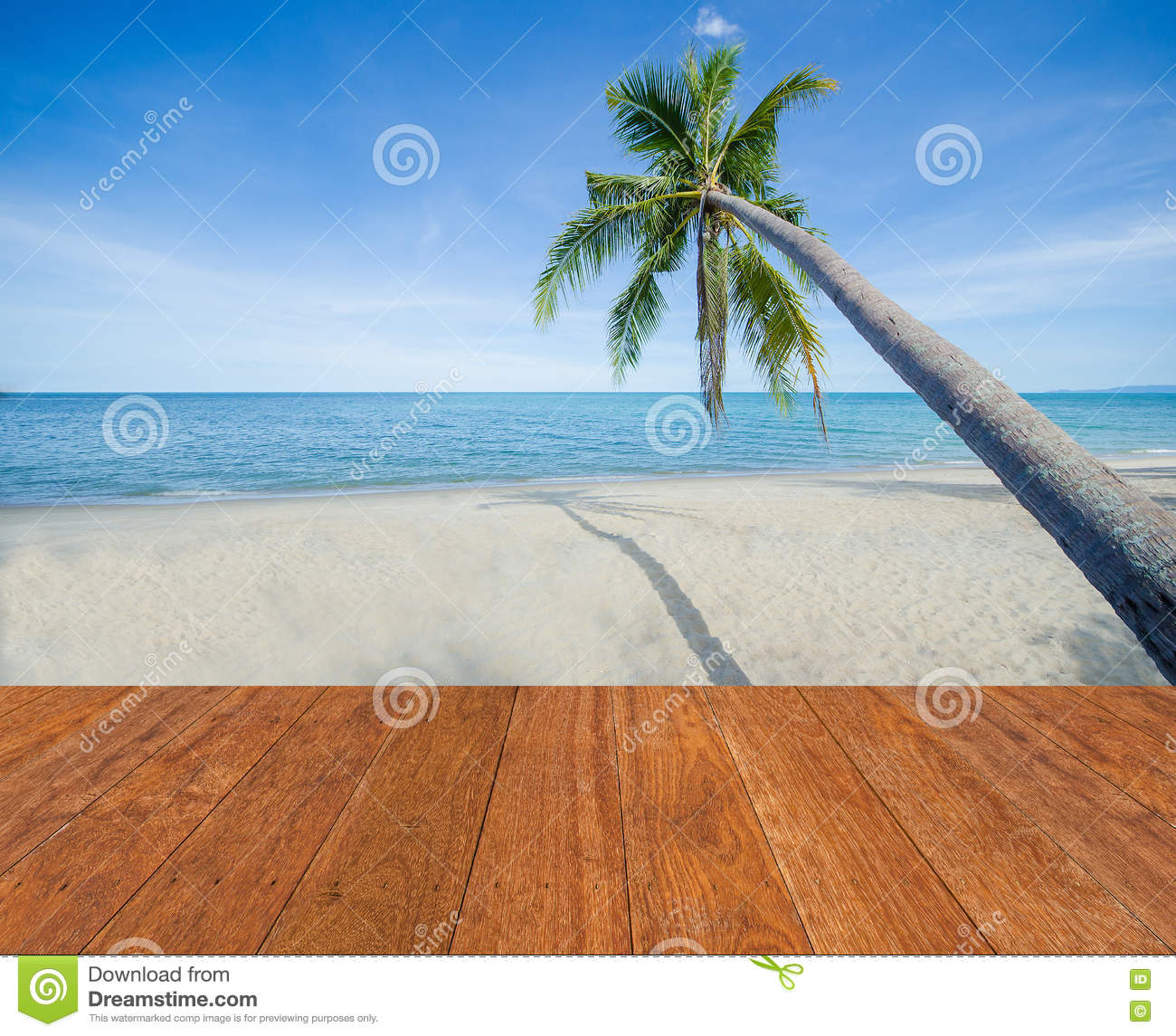 Sand Beach In Summer Sky Background: Blue Sea, White Sand, Coconut Palm Tree And Blue Sky With