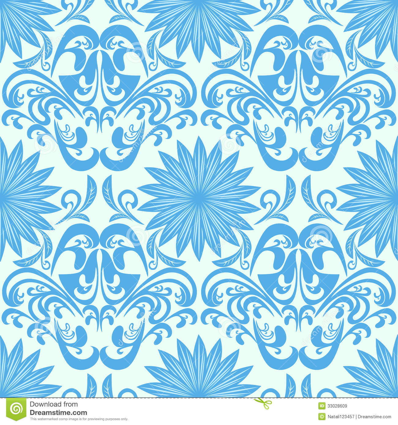 Blue Seamless Floral Damask Wallpaper Royalty Free Stock Images Image