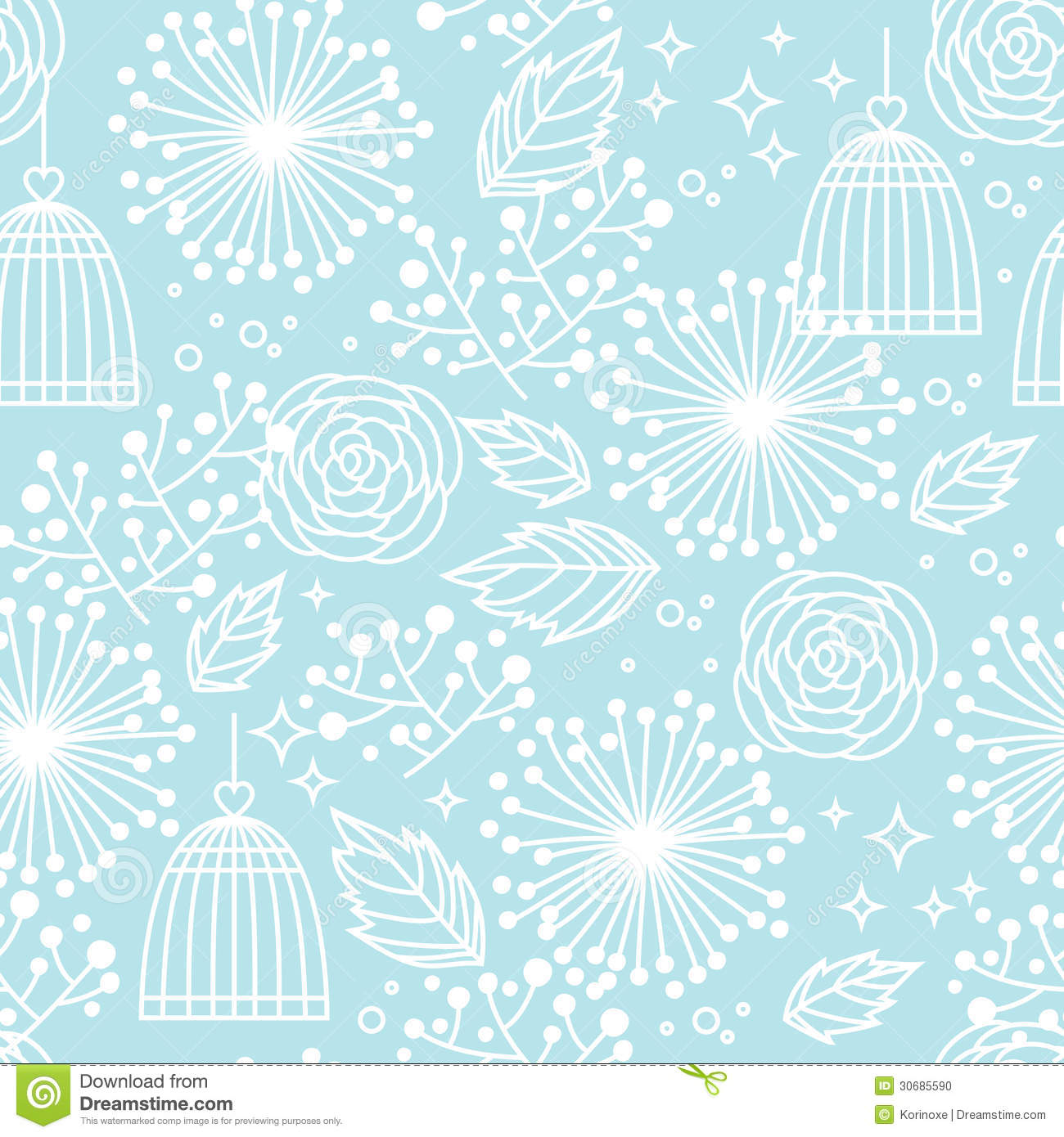 Blue Seamless Floral Pattern Stock Vector - Image: 30685590
