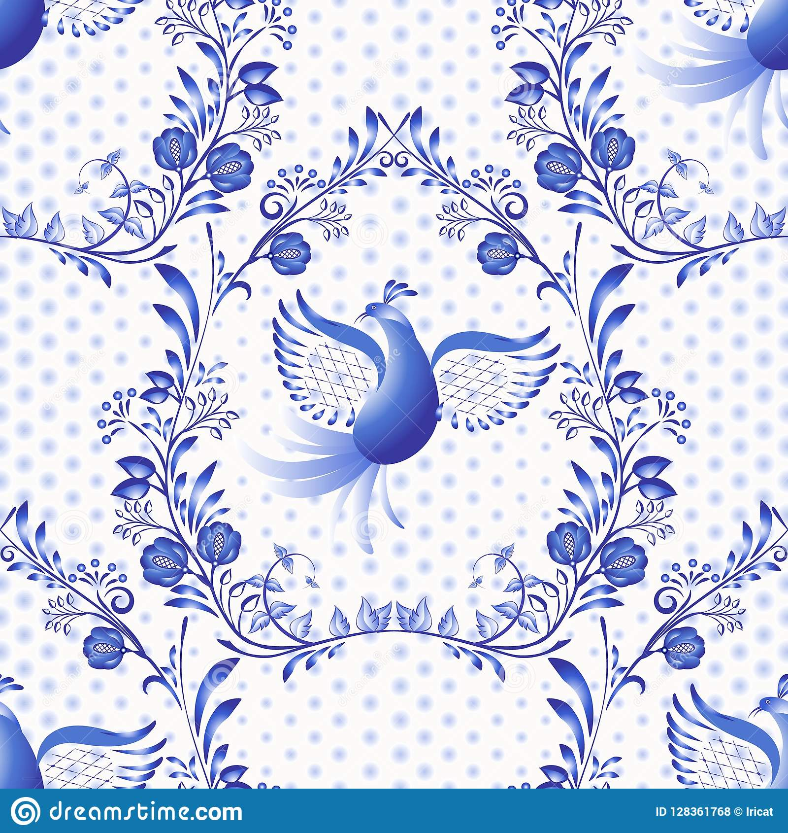 Blue seamless pattern. Floral background with birds and dots in the style of national porcelain painting.