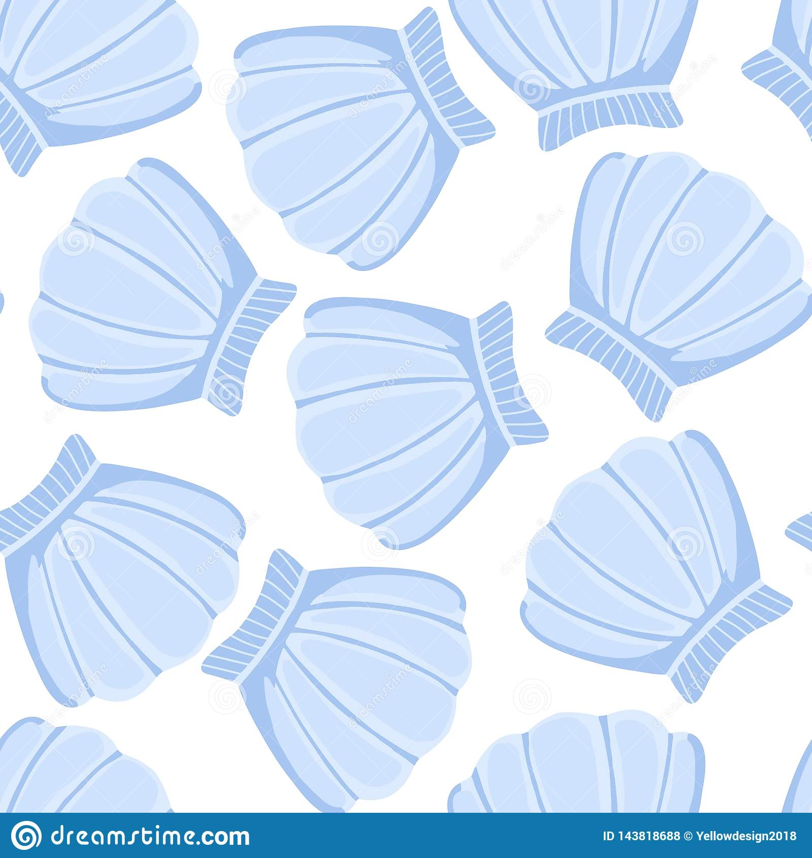 Blue Seashells Seamless Pattern Abstract Shell Marine