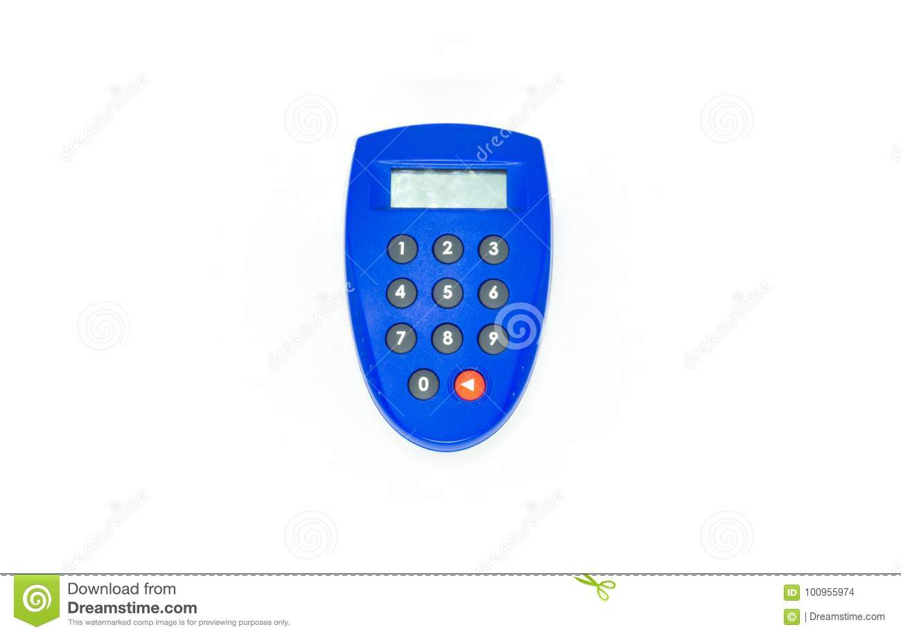 Blue Security Key Bank Token Stock Photo - Image of numbers