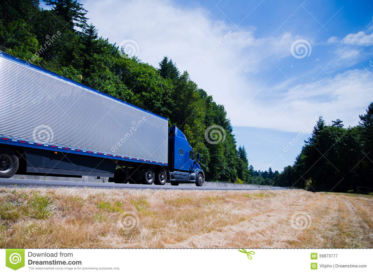 Big Rig Summer : Speeding big rig truck in the highway cartoon vector