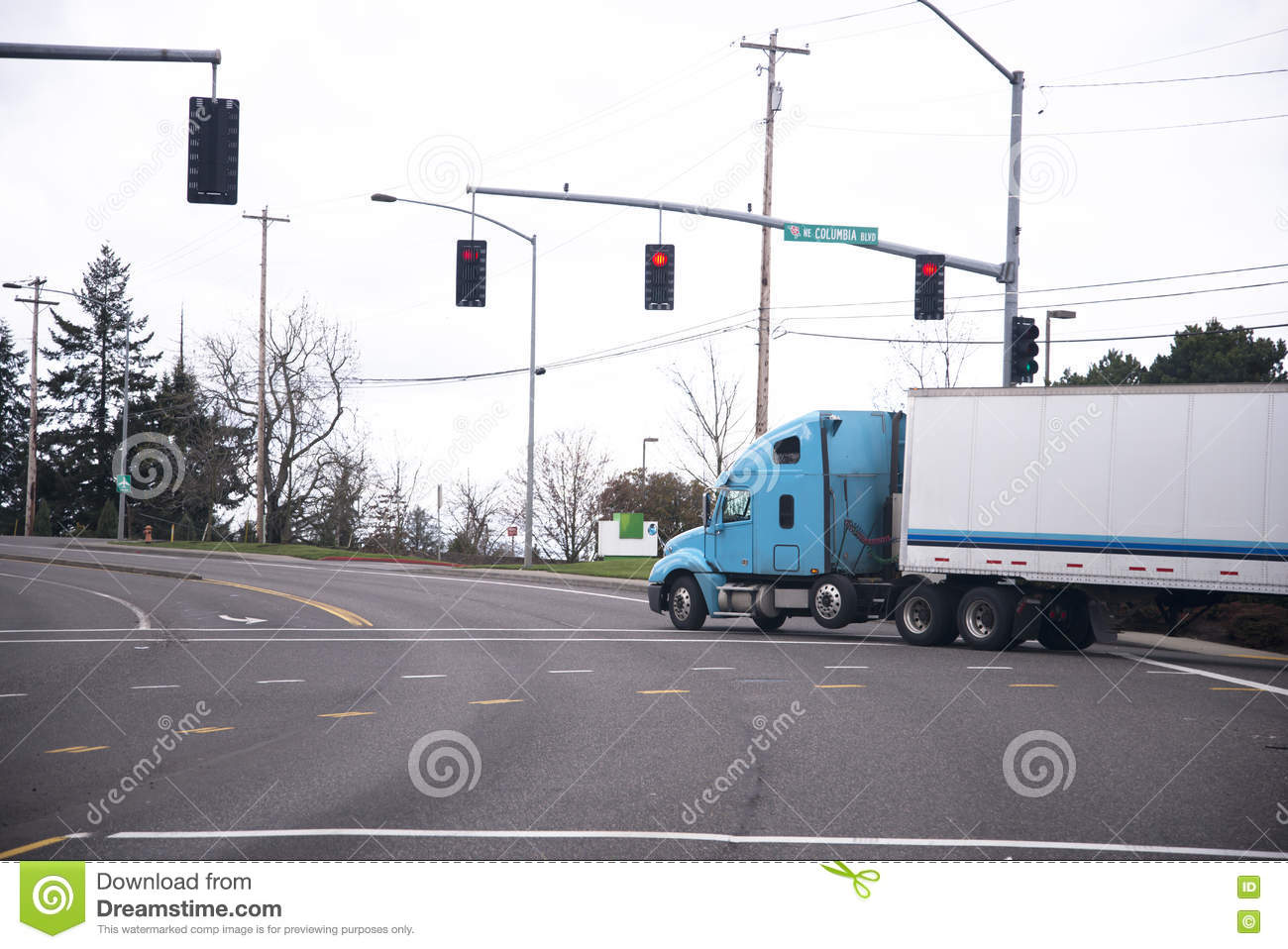 Download Blue Semi Truck And Trailer On Road With Traffic Lights Stock  Image   Image Of