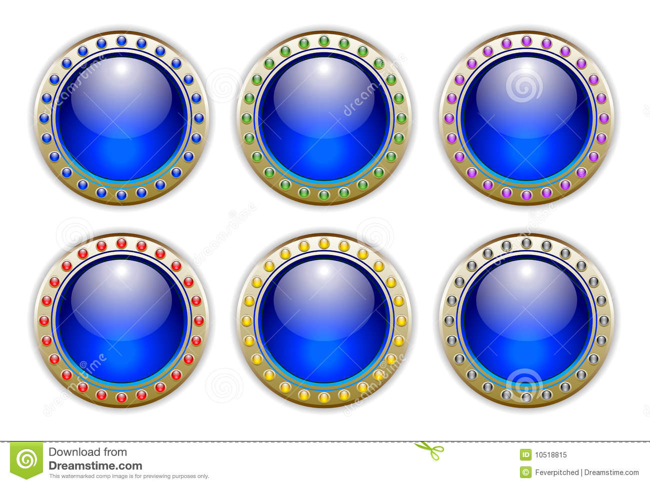 Blue Set of 6 Color Combinations Glossy Buttons