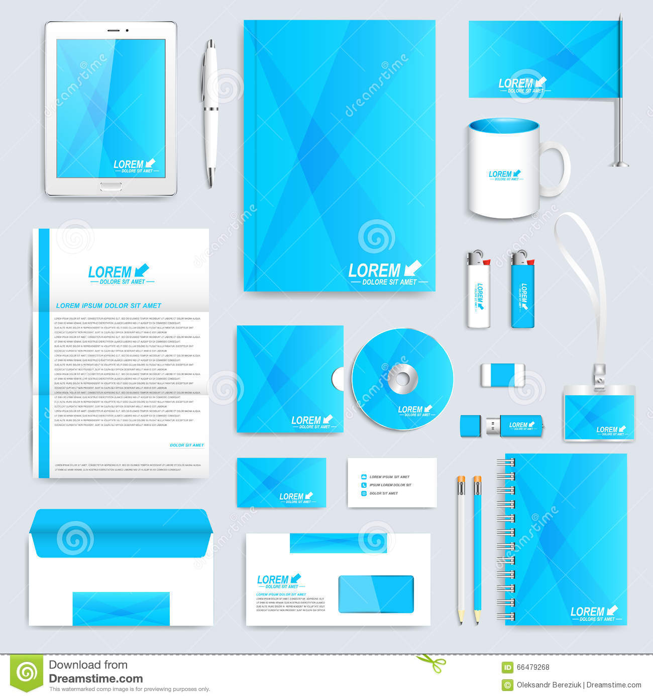 Blue Set Of Vector Corporate Identity Template Modern