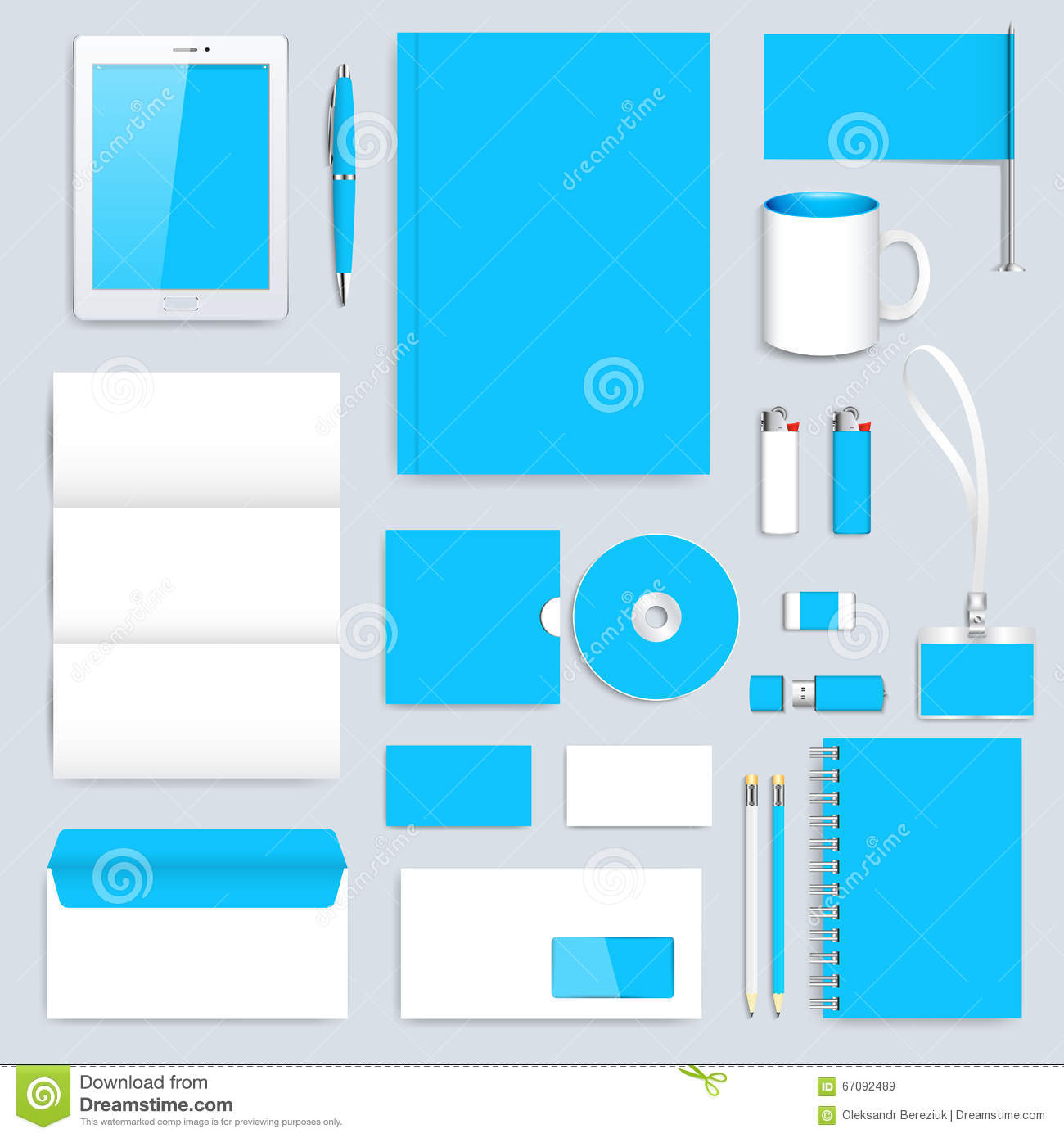 blue set of vector corporate identity template modern business