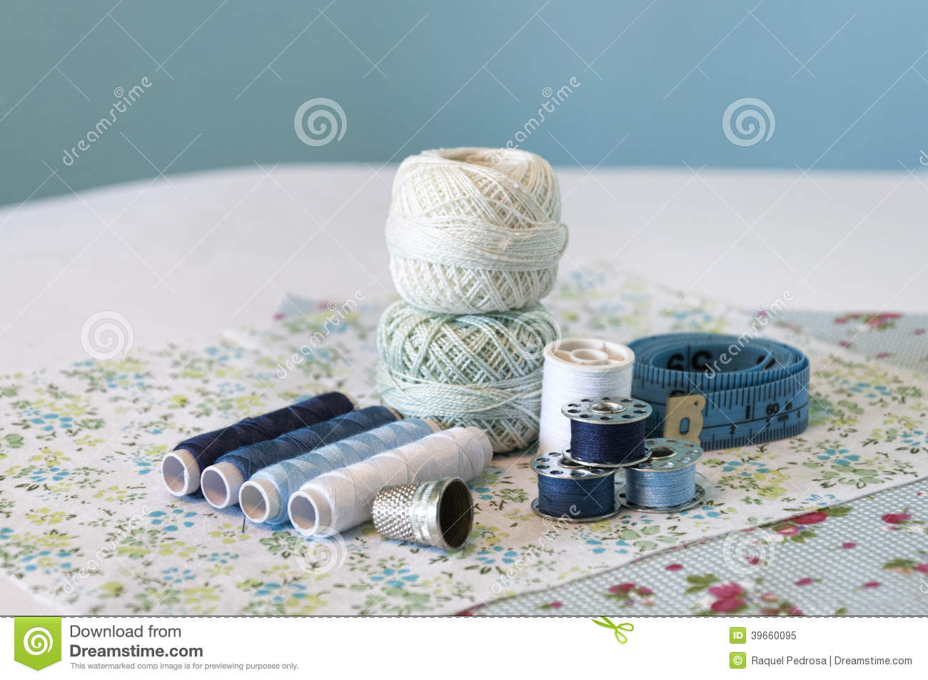 Blue sewing items
