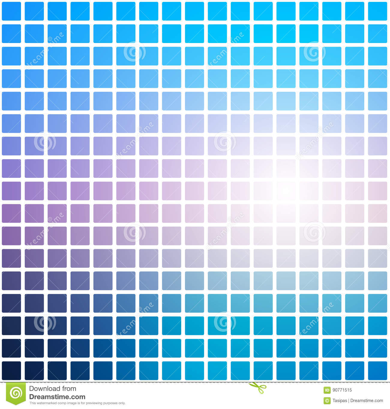 Blue Shades Pink Rounded Mosaic Background Over White Square