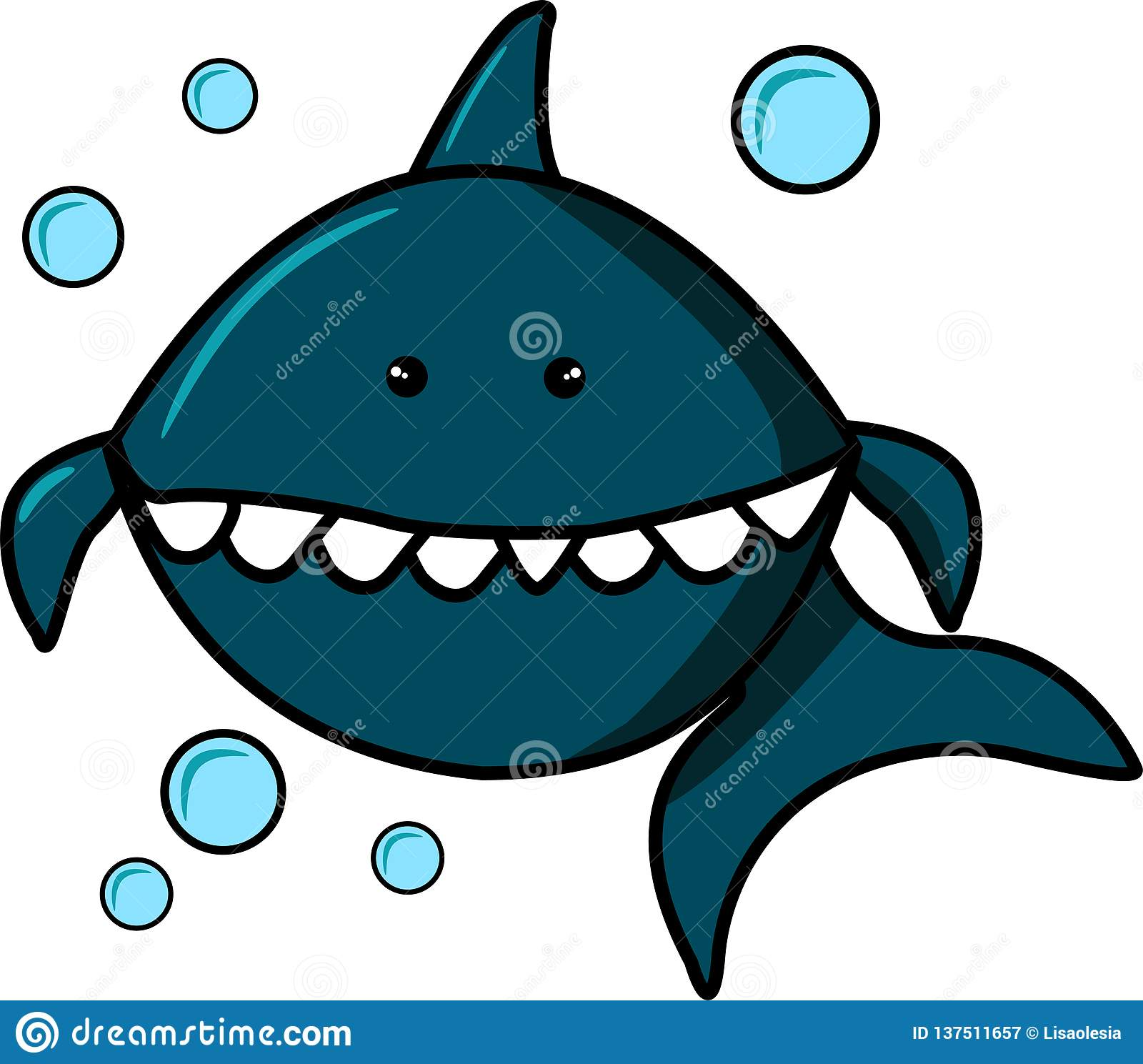 Blue Shark and Bubbles on white background. Cartoon character for print on t-shirts, sweatshirts, T-shirts, gifts