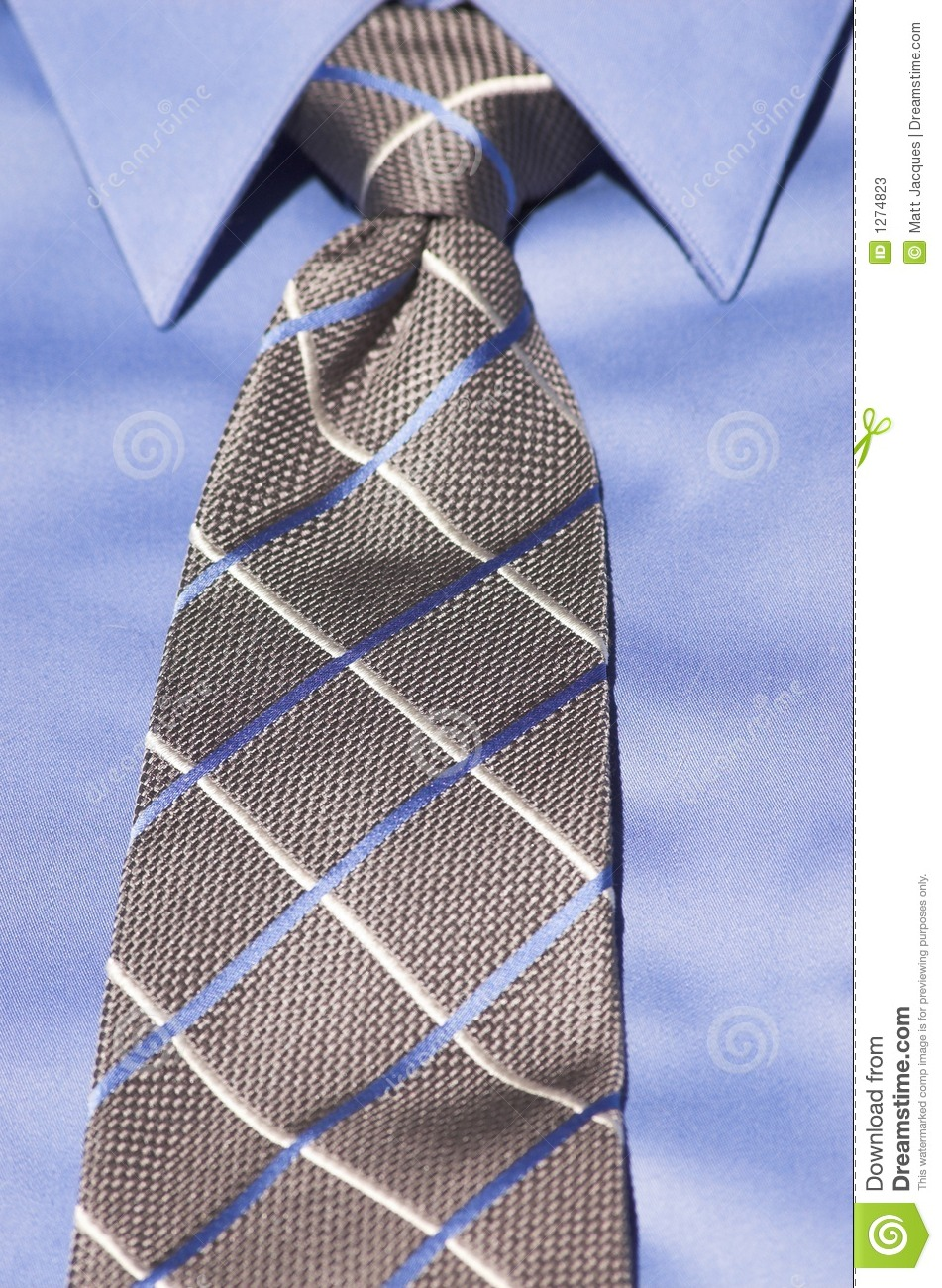 Blue Shirt With Striped Tie Stock Photos Image 1274823