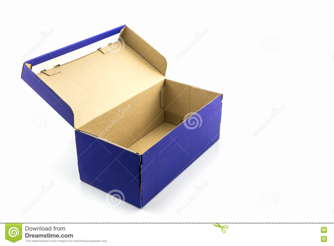 blue shoe box with clipping path stock image image of paper