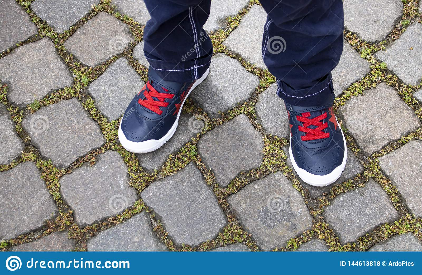 Close up of a child`s shoes