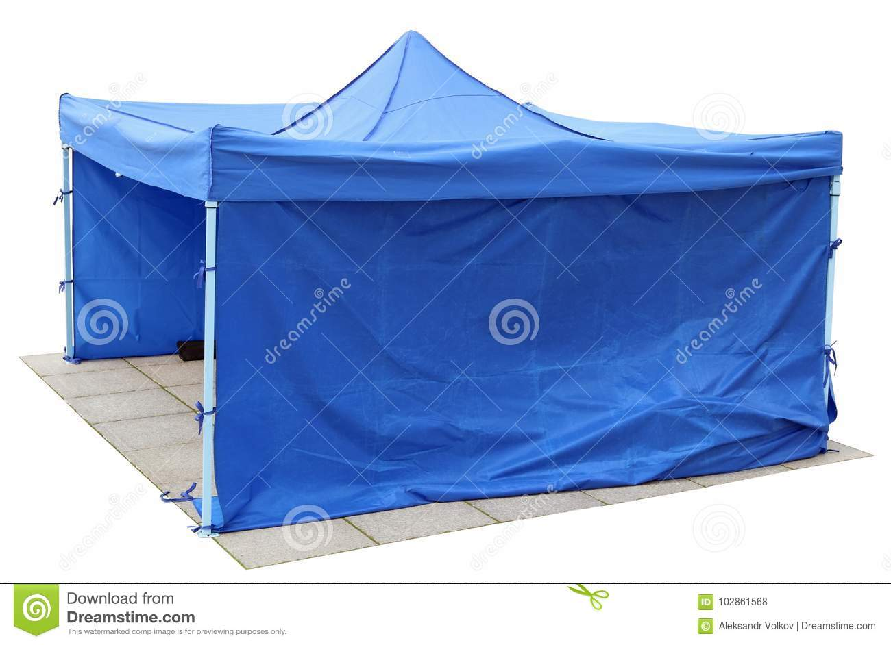Blue short canvas no name tents is installed on the old city gr
