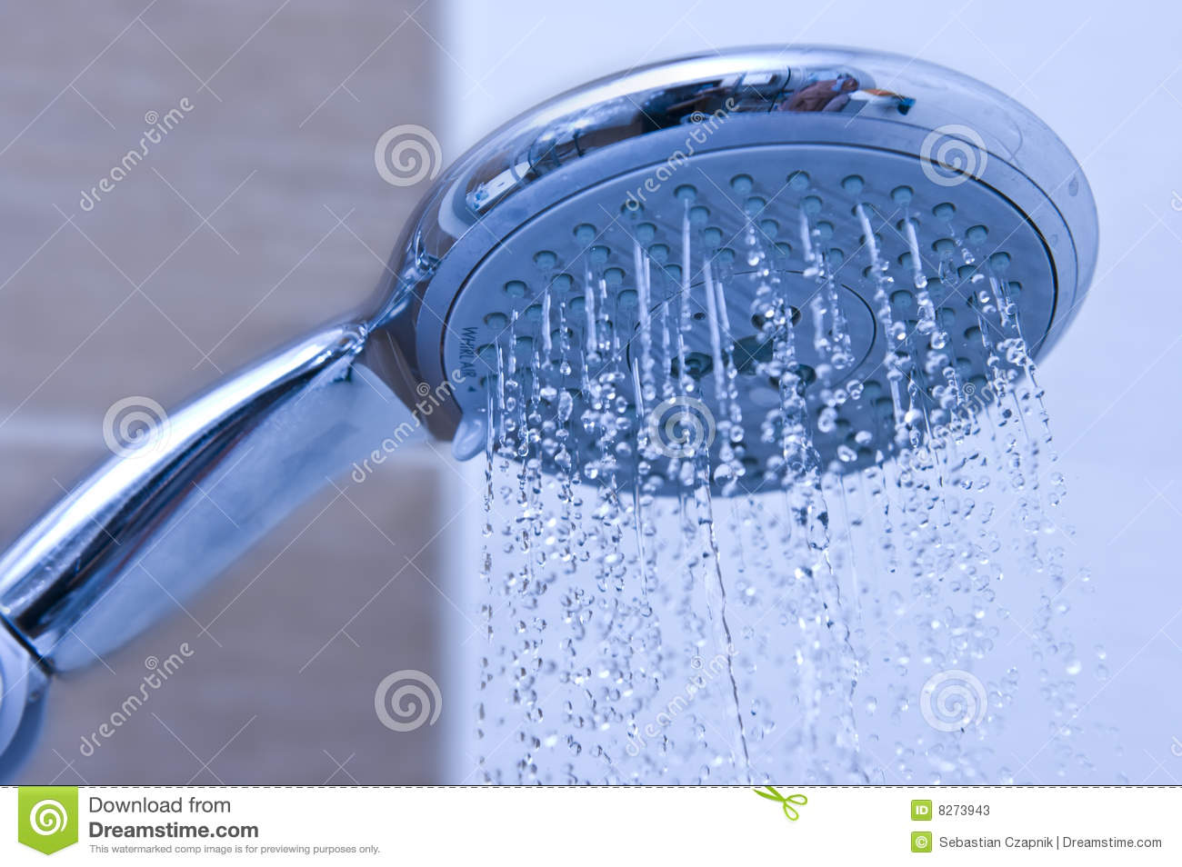 Blue shower head stock image. Image of closeup, droplet - 8273943