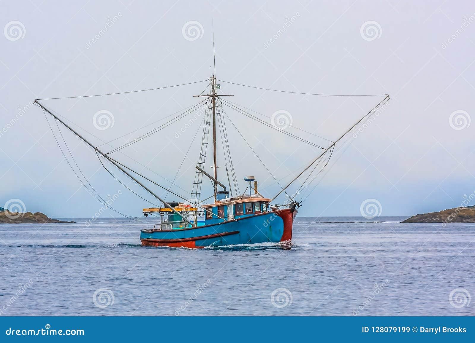 Blue Shrimp Boat on Grey Day