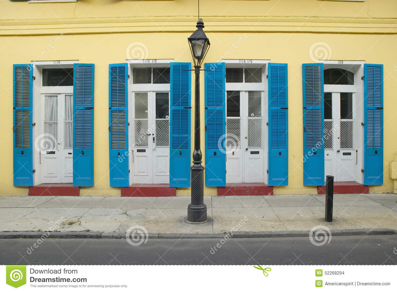 Blue Shutter And Lamp Post In French Quarter Near Bourbon Street In New Orleans Louisiana Stock