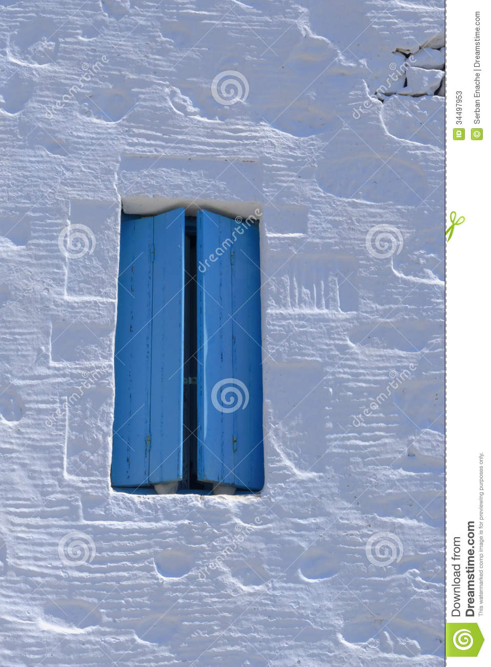 Blue Shutters On Greek Home Stock Photos Image 34497953