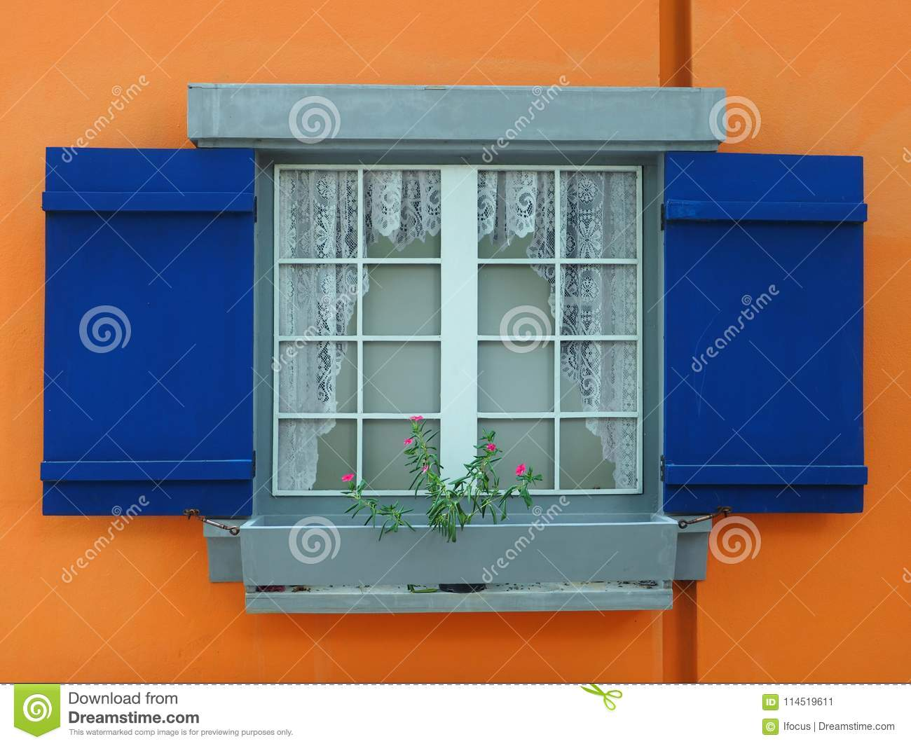Blue Shutters On Orange Walls Stock Image Image Of Wall Painting